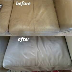 Before and after photo of a leather chair restored with taupe