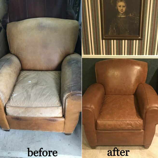 Collage of before and after photos showing unfaded leather club chair restored with Tobacco color Rub n Restore leather dye