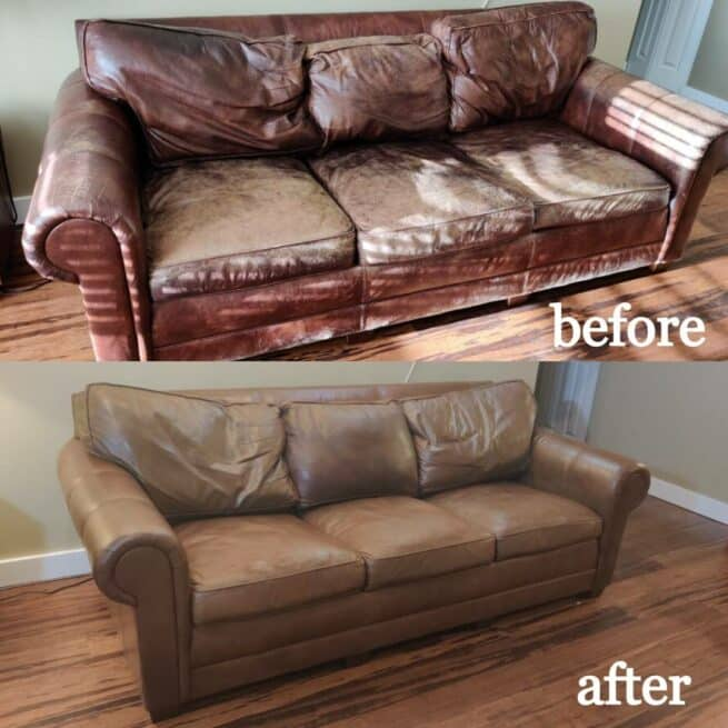 Photo collage showing faded, worn burgundy leather couch changed to warm Tobacco brown using Rub n Restore leather paint