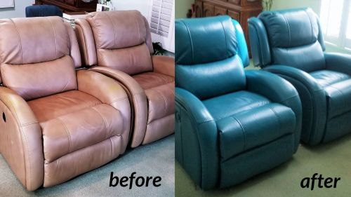 Before and after photo of leather chairs that have been recolored from brown to turquoise blue.