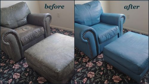 Leather arm chair and ottomon before and after being recolored with turquoise leather dye.