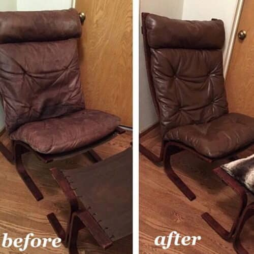 Before and after leather chair restored to walnut color