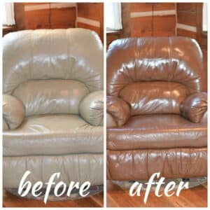 Before and after photo of a leather chair changed from light to walnut color