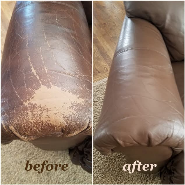 Leather arm chair that has been restored with walnut color, before and after