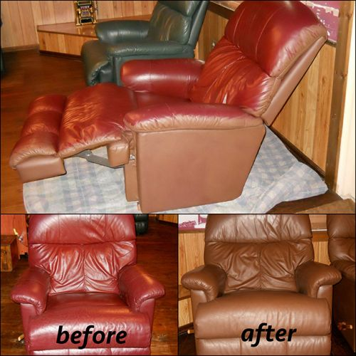 Before and after photo of leather chair colored with walnut