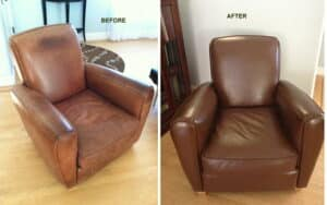 Before and after photos of a leather chair restored with walnut color