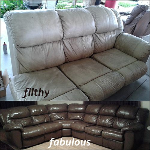 A leather couch restored with walnut color, before and after