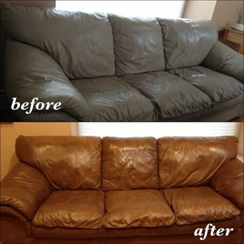 A couch changed from grey to walnut color, before and after