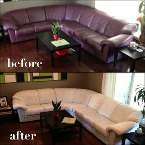 Changing the color of a leather couch from dark to white