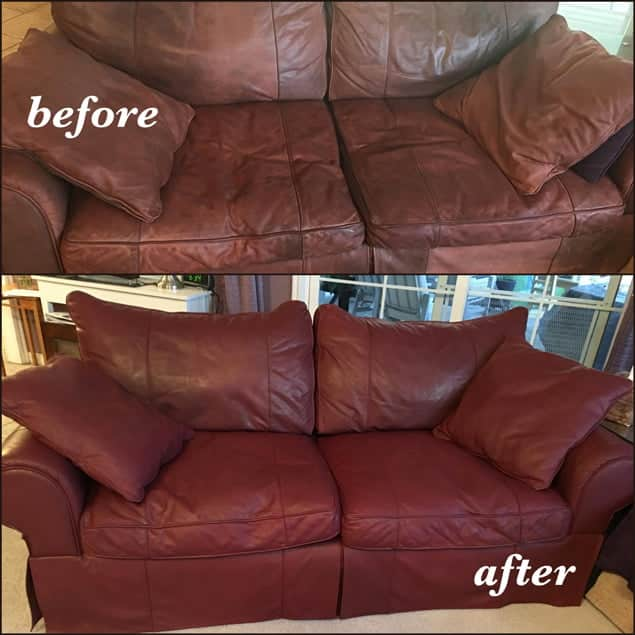 Before and after photo of couch restored with wine color