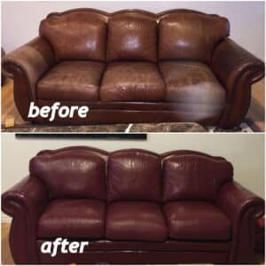 Before and after couch restored with wine color