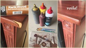 Collage of wood repair with KwikWood and Rub n Restore finishes