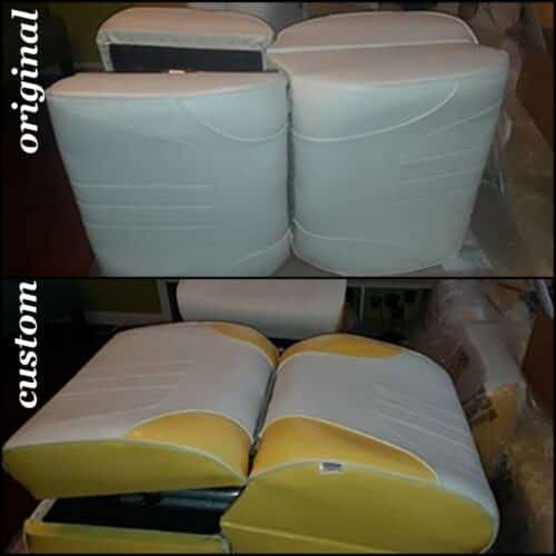 Vinyl boat seats that have been restored with custom vinyl dye.